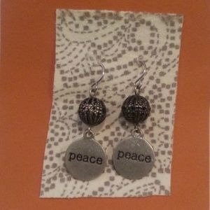 Peace dangle tab and ball earrings New!!